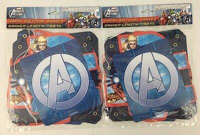 2 PACK Marvel Avengers Happy Birthday Banner Sign Hulk Captain America Iron Man