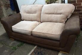 Large suede leather / fabric two-seater sofa, very comfy