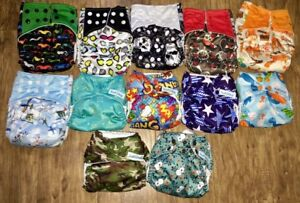 Adjustable cloth diapers with bamboo liners.
