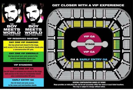 DRAKE VIP TICKET FOR WEDNESDAY 08/11 SYDNEY SHOW