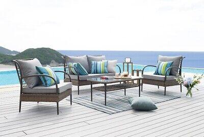 Garden PE Rattan Brown 4piece Lounge Set Cushion Not Include Backyard Furniture