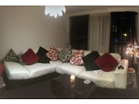 White leather corner sofa