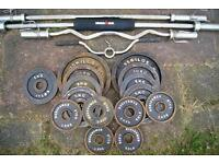 Olympic Bars & 90kg Cast Iron Metal Weights