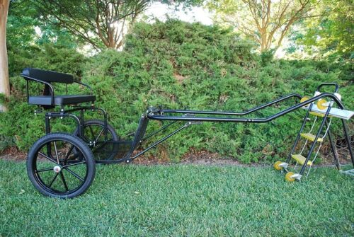 """EZ Entry Pony/Cob Size Horse Cart w/60""""/72"""" Curved Shafts w/18"""" Motorcycle Tires"""