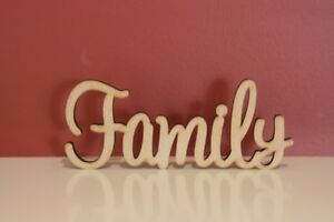 Small freestanding wooden word Family sign   7cm tall