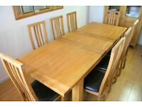 Solid Oak Large Extending Dining Table And 6 Matching Chairs - Free Delivery In Southampton