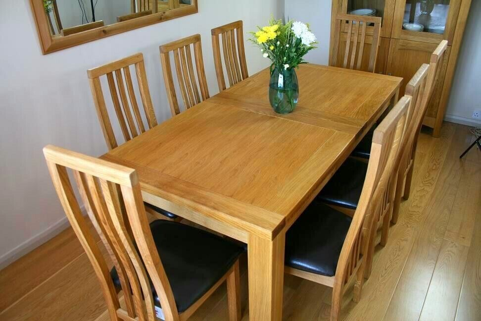 Solid Oak Large Extending Dining Table And 6 Chairs QUICK SALE