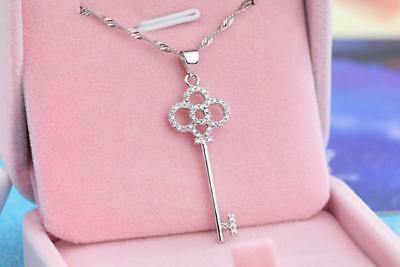Silver Clover Key Pendant - Four-leaf Lucky Clover Key 925 Sterling Silver Micro-inlay CZ Pendant Necklace