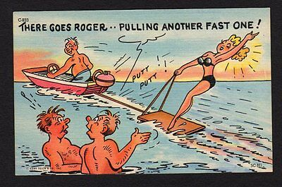 """Witty Postcard man in boat woman ski boarding """"Roger pulling another fast one"""""""