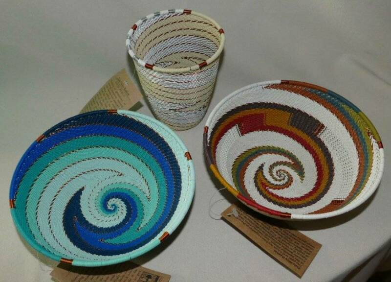 3 NEW with Tags African Zulu Woven Telephone Wire Baskets