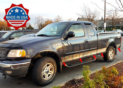 97-03 Ford F-150 Super Cab Short Bed Rocker Panel Trim w/Flare Stainless Steel