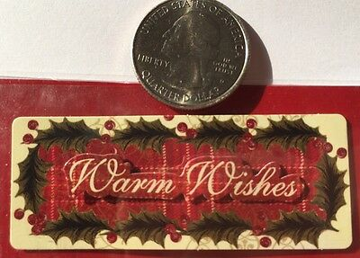 WARM WISHES Dimensional Stickers(4pc) Michaels•Christmas•Holly•Holiday•Lables ()