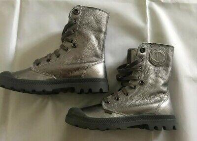 NEW Palladium Baggy Women's Metallic Silver Leather Combat Boots HOT Size 7