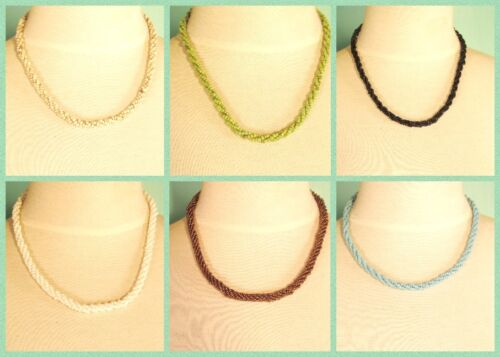 """12 PCS 18"""" Assorted Colors Twisted Rope Chain Handmade Bead Necklace WHOLESALE"""