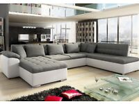 White faux leather & grey fabric corner sofa double bed