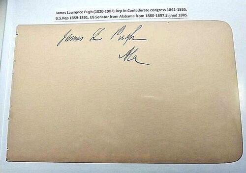 James L Pugh - SIGNATURE Alabama Senator signed 1880-1897 autograph lawrence.