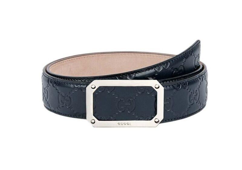 Gucci Men Blue Signature Leather Belt
