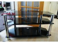 As New Condition Glass and Chrome TV Media Stand Unit Gloss Black Finish
