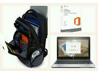 "HP Chromebook 11 G5 Microsoft Office Home and Student 2016 -Windows Targus CityGear 14"" Backpack"
