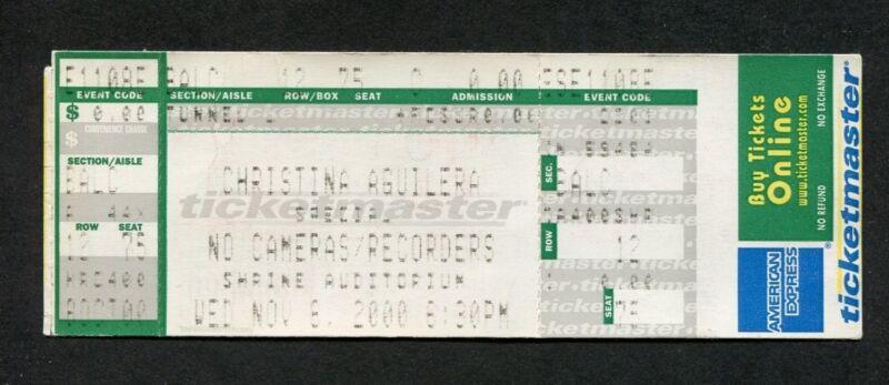2000 Christina Aguilera unused full concert ticket Los Angeles CA Mi Reflejo