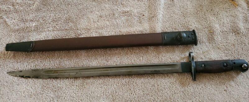 WWI British Army 1907 Bayonet w Scabbard SMLE Enfield Rifle Sanderson 1910 #2