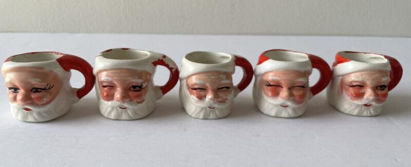 """Vintage Lot of 5 Santa Hand Painted Winking Mini Mugs 1.75"""" Tall - 1950's Japan"""