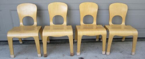 Lot 4 Community Playthings stacking bentwood preschool chairs mid century