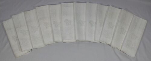 """VINTAGE Set of 12 Matching Very Large Heavy Linen White Dinner Napkins. 22""""Sq"""