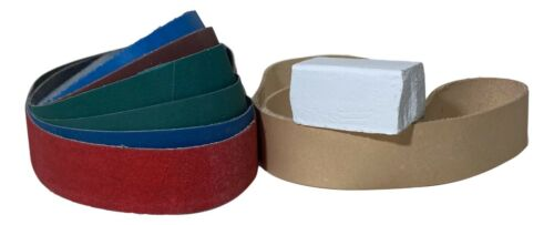 1 x 30 Belt Pack - 6 Grit Belts and Leather Honing Belt with Compound