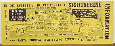 1950's Santa Monica California Sightseeing Service brochure Los Angeles b