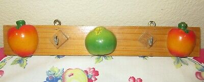 🍒VTG Wood Key/Apron Holder 3D Fruit 40's-50's Kitchen Trailer Cabin Retro Decor