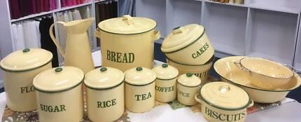 Retro Enamel Kitchenware Cream and Green