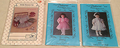 LOT 3 DOLL DRESS CLOTHING PATTERNS Connie Lee Finchum, Pinky, Susie, Jenny Wren
