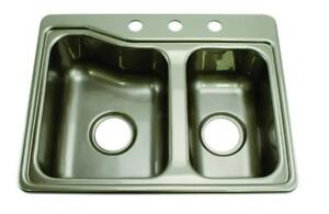 "NEW Lippert 209586 Better Bath RV Double Sink 25"" x 19"" Stainless Steel Color Condition: New"