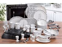 100 PIECE PC SCRIPT ROUND BLACK & WHITE DINNER SERVICE SET MODERN DESIGN