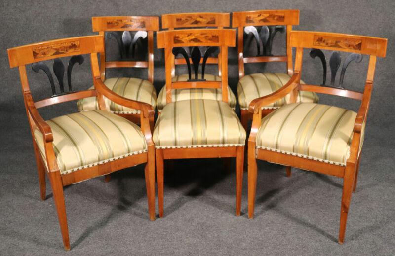 Set 6 Antique Biedermeier Birch and Ebonized Dining Chairs