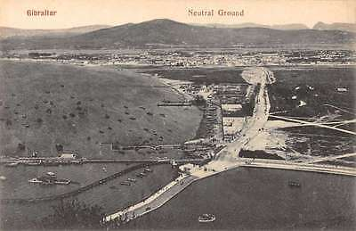 Gibraltar panoramic birds eye view of neutral ground antique pc Y15121