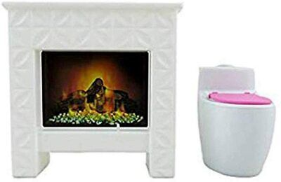 Barbie Replacement Parts Dream-House FHY73 - Incl 1 Doll Size Fireplace & Toilet