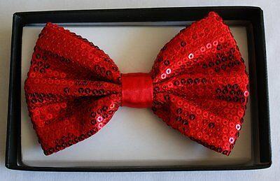 Unisex RED Sequin Tuxedo Classic BowTie Neckwear Adjustable Strap Bow Tie-New