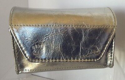 Womens Card Holder Case Metallic Silver Vinyl Compact Frequent Buyer Business