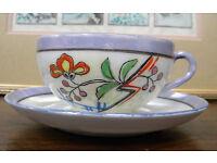 Oriental Porcelain Teacup and Saucer - Golden Series reg. FOREIGN