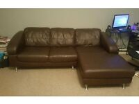 3 Seater Leather Corner/Chaise Sofa