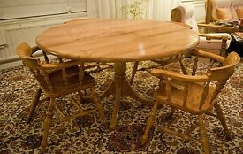 Large handmade solid wood Stewart Linford Elm Dining Table and Chairs