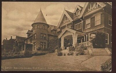 Postcard PORTLAND Oregon/OR  Large Victorian 2 Story Brick Home w/Spire 1907?