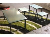 Glass top iron coffee and side table set DELIVERY AVAILABLE