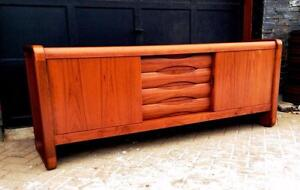 Mid-Century Modern Teak Buffet/ Sideboard/ TV Media Console or Credenza REFINISHED
