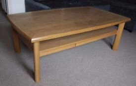 SKOVBY SM201E Oak Lacquered Coffee Table With Drawer and heat proof shelf