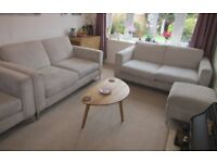 Cream DFS 2 x 2 Seater Sofa Chair & Footstool