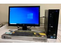SSD Fast HP Pro I3 Small Tower Form Computer Desktop PC & HP 20 LCD widescreen