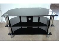 HEAVY & SOLID CORNER TV TABLE/STAND - SMOKED GLASS & CHROME